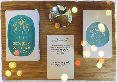Shuffling through the Serenity & Solace Affirmation Cards